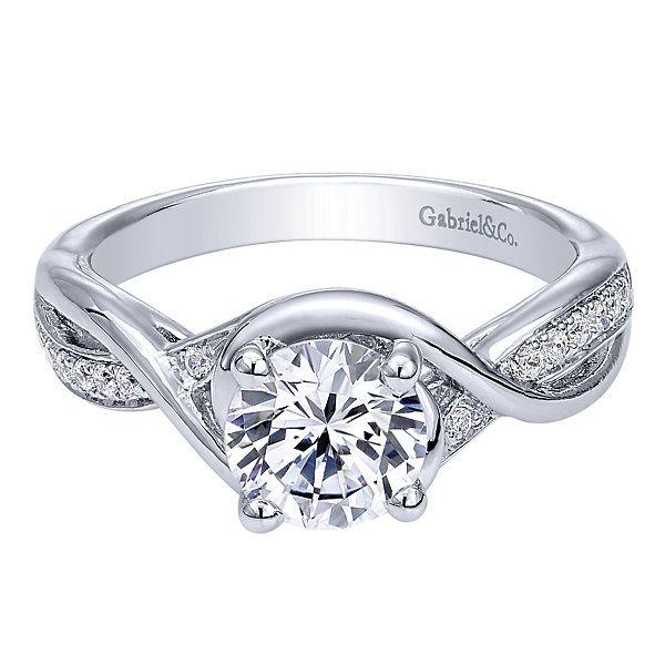 Gabriel & Co. ER10315W44JJ 14k White Gold Diamond Criss Cross Engagement Ring Setting