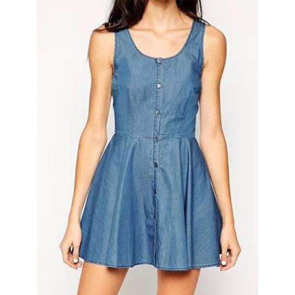 WithChic Blue Button Up High Waist Back Wrap Denim Skater Dress (€19) ❤ liked on Polyvore featuring dresses, denim skater dress, denim wrap dress, blue denim dress, denim button down dress and wrap dress