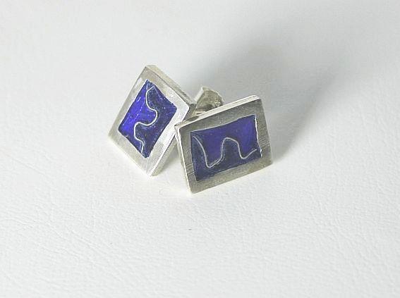 Ohrstecker - Ohrring, Stecker, Silber mit Emaille, Cloisonné - ein Designerstück von schlicht-Schmuck bei DaWanda
