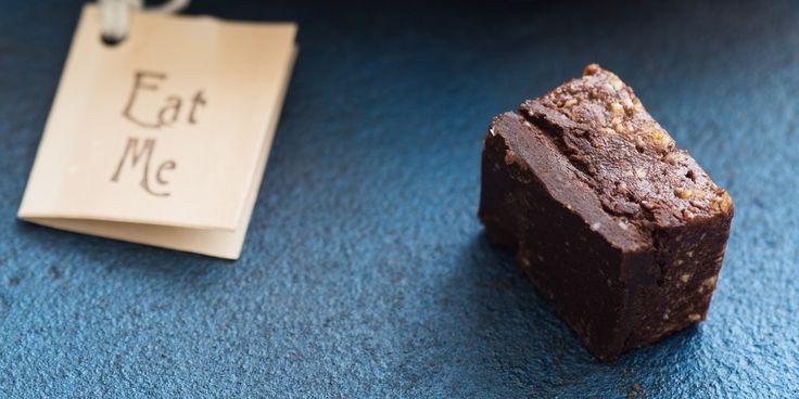 Dark Chocolate, Plum + Tahini Fudge via @iquitsugar