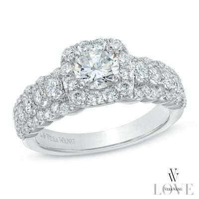 Vera Wang LOVE Collection 1-1/2 CT. T.W. Diamond Frame Engagement Ring in 14K White Gold