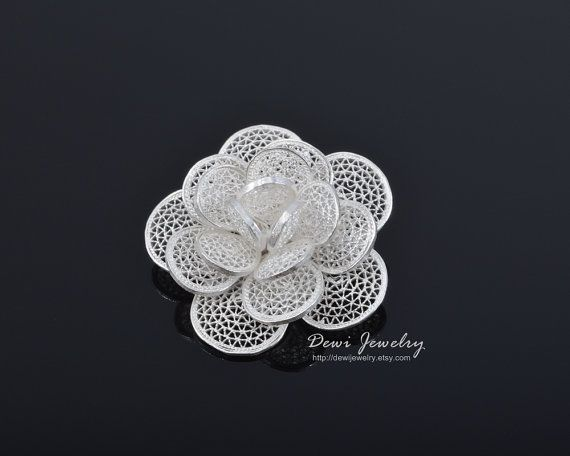 Sterling Silver Filigree Small Krawang Rose Brooch by DewiJewelry