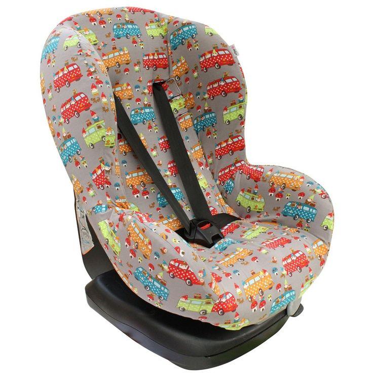 Hoes autostoel Maxi Cosi Priori XP, Priori SPS en Romer King. Taupe met VolksWagen busjes en kabouters. Superhip! www.ukje.nl