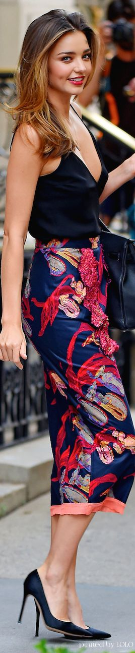 Miranda Kerr - love this skirt/top combo... Would love to style with this #ring http://myempowerring.com/product/better-alone/