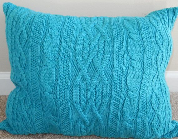 Teal Cable Knit Pillow Case from Upcycled Sweater & 376 best CABLE KNIT PILLOW images on Pinterest | Knit pillow ... pillowsntoast.com