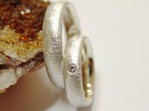 Eheringe / Partnerringe in Silber mit Brillant