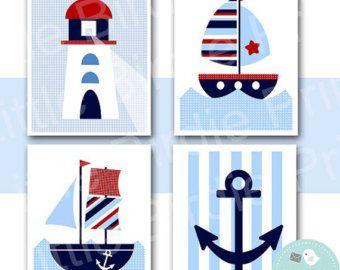 Barcos imprimible del arte de la pared del cuarto de niños - Descargar Instant - náutica, faro, anclaje para guardería, sala de niños o bebé habitación pared