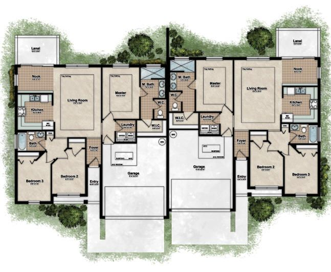Free floor plans for duplex houses gurus floor Fourplex apartment plans
