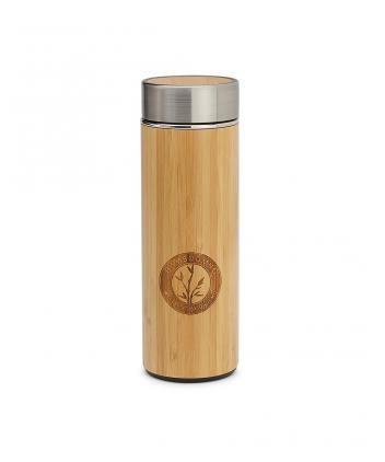 Ongemo Wellness Bamboomug Thermoskanne, doppelwandig, mit Siebeinsatz, aus Edelstahl und Bambus, 300 ml - ED5009