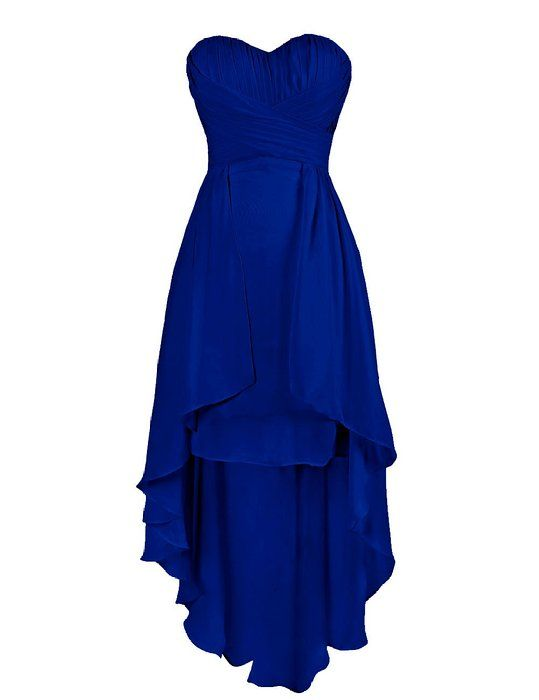 Dressystar High Low Prom Dresses Sweetheart Cocktail Homecoming Gowns Size 12 Royal blue