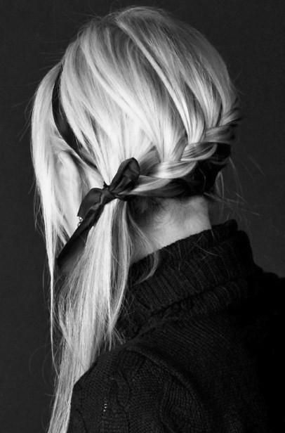 Awesome braid with basic black satin ribbon. Want to wear this with those black heels I pinned!!