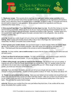 10 Tips for Successful Cookie Baking during the Holidays and free printable at TidyMom.net