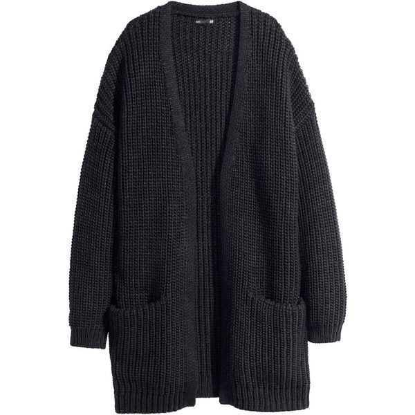 H&M Rib-knit cardigan (819525 BYR) ❤ liked on Polyvore featuring tops, cardigans, jackets, outerwear, sweaters, black, h&m cardigan, ribbed knit top, long cardigan and black cardigan