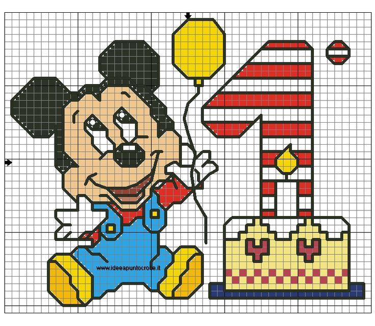Schema baby topolino compleanno mickey minnie mouse for Punto croce bagnetto