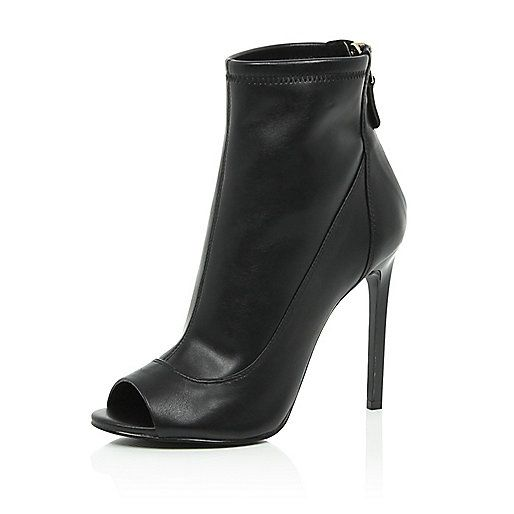 Black leather peep toe ankle boots - ankle boots - shoes / boots - women