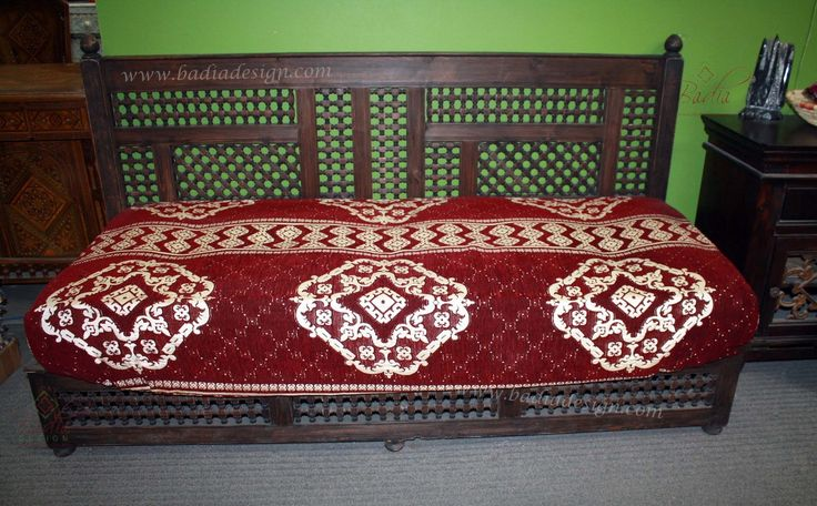 Badia Design Inc Store - Moucharabieh Dark Stained Wooden Daybed with Back - DB001, $1,800.00 (http://www.badiadesign.com/moroccan-wooden-daybed-db001/)