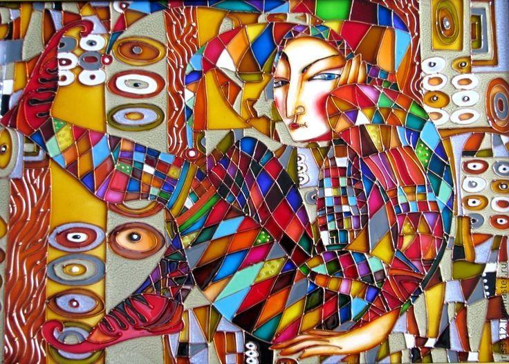 """""""Арлекин"""" - арлекин,клоун,итальянский стиль,Витражная роспись,витражная картина"""