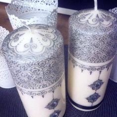 Mes créa's-bougies décorées façon henna, elégant, chic et original