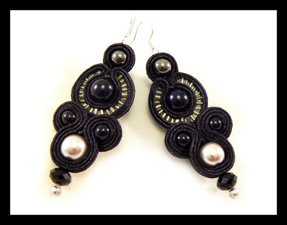 Soutache earrings glass pearls hematite Maya's by Mayasbijou €17.01 EUR on Etsy.com