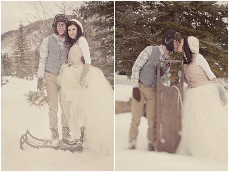 """Adorable winter wedding day pictures! I like how the dress looks worn with her """"snow/ski"""" gear- ss"""