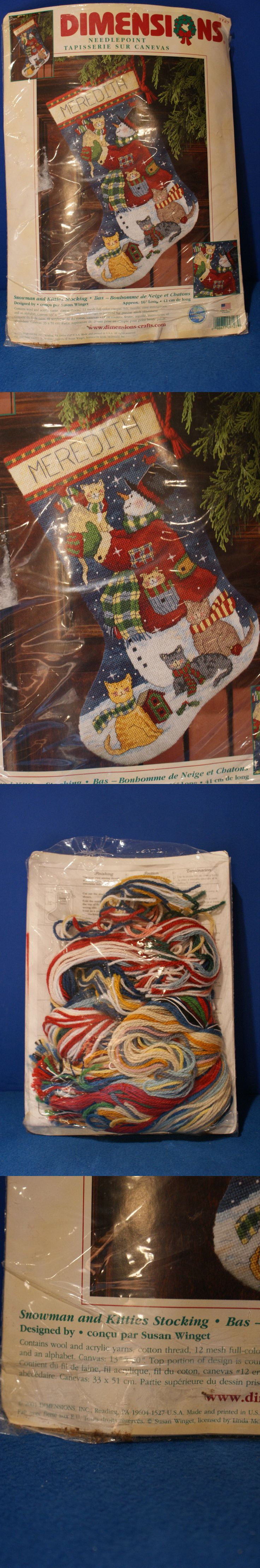 Needlepoint Kits 3109: Dimensions ~ Snowman And Kitties ~ Needlepoint Stocking ~ #9127 ~ 16 Inches Long -> BUY IT NOW ONLY: $49.99 on eBay!