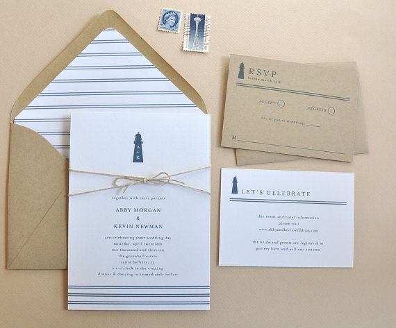 Yacht Club Wedding Invitations / Rehearsal Dinner Invitations / Bridal Shower / Lighthouse Invitations / Nautical Wedding / Printable / DIY on Etsy, £31.15