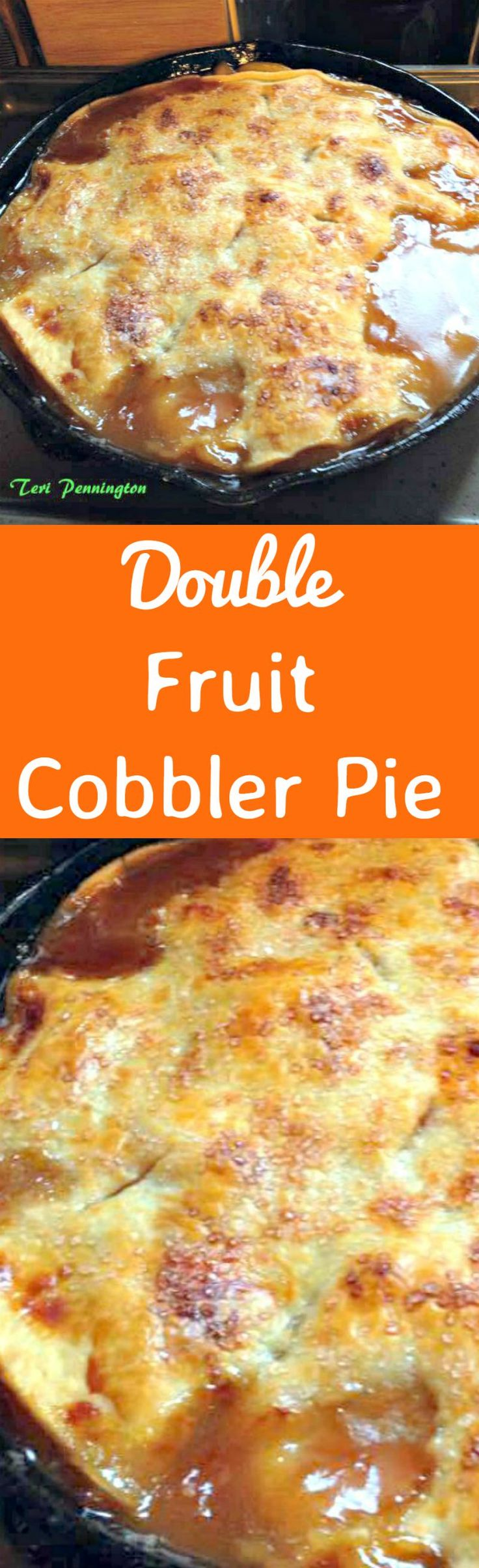 Double Fruit Cobbler Pie! This is one good tasting and easy cobbler and pie all in one! With double layers of fruit (peaches or you can swap) filling and pie crust, this dessert is always a pleaser. Serve warm with ice cream and please enjoy!