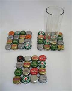 Recycled bottle top coaster @Lauren M Saw these & thought of you & your bottle top stash!