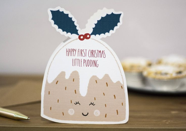 Babys first christmas card, little pudding card, new parent christmas by KnightandGray on Etsy