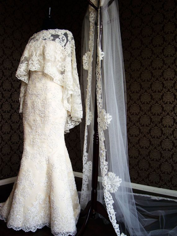 Luxury Long Bridal Capelet Beaded Lace Cape Boat by IheartBride, $500.00