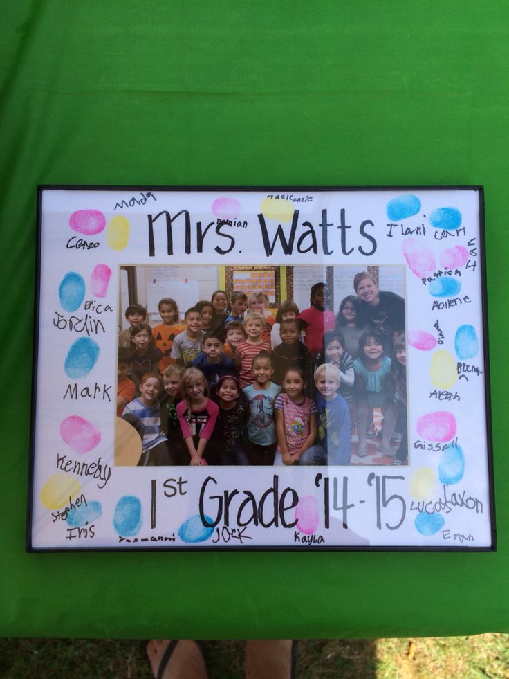 End of year gift for teacher. This gift probably cost a total of $15 tops. Got a picture of the class printed at Walmart for about $2, frame from Walmart for less than $2, and the card stock frame around the picture from Hobby Lobby for about $2. Had the kids do thumb prints and sign their name. They enjoyed making it for their teacher!