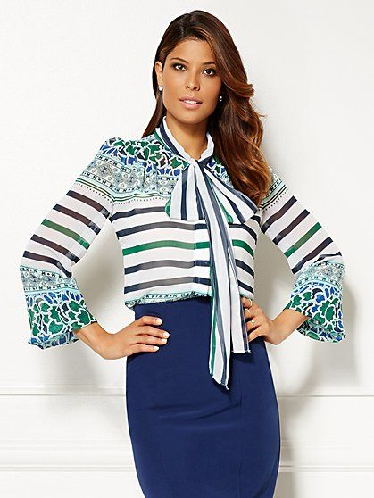 Eva Mendes Collection - Isabella Bow Blouse - Average - New York & Company