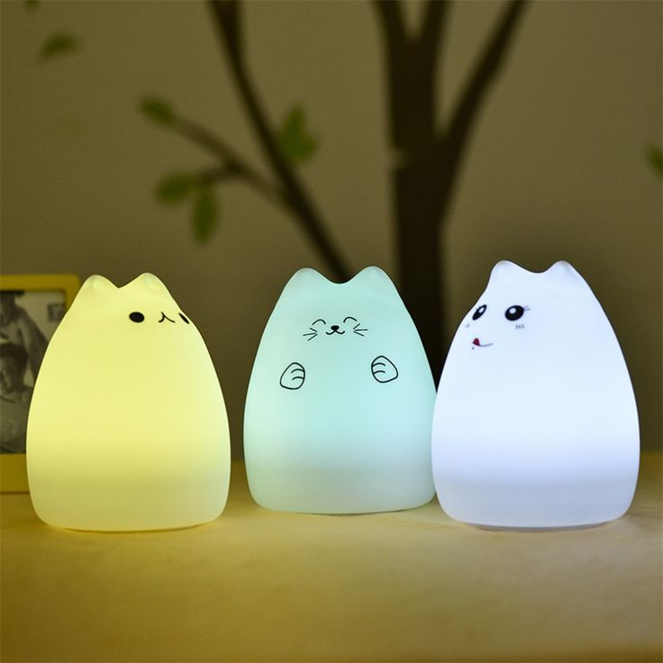 Cat Silica Gel Lamp Sleeping Night Light Colorful Bed Lights USB Charge