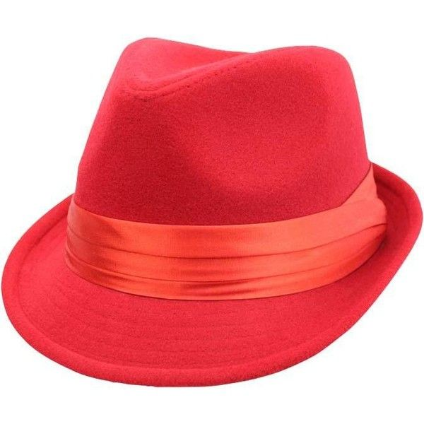 Red Wool Felt Fedora Hat ❤ liked on Polyvore featuring accessories, hats, wool fedoras, felt hats, red hat, felt fedora and red fedora hat