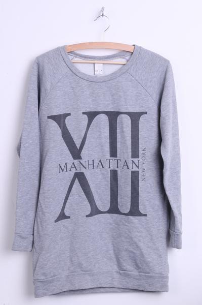 VILA Clothes Mens M Sweatshirt Crew Neck Grey Manhattan Top - RetrospectClothes