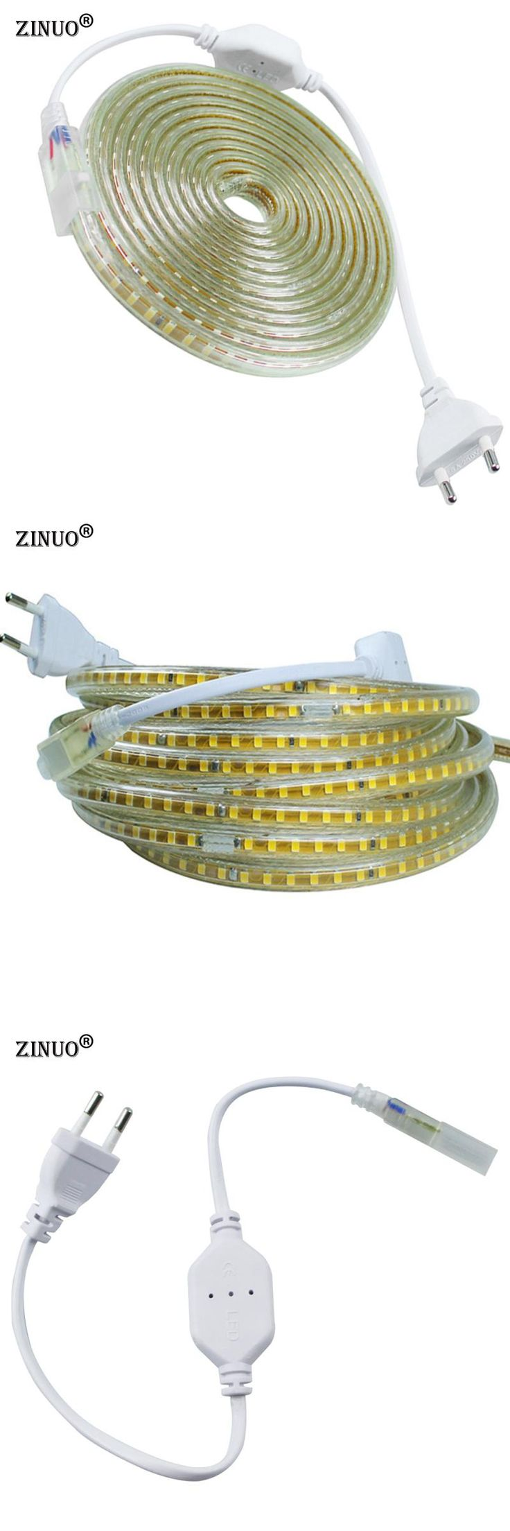 [Visit to Buy] ZINUO 220V LED Strip 2835 120Leds/M IP67 Waterproof With EU Power Plug LED Tape Light String Ribbon Brighter Than 3528 5630  #Advertisement