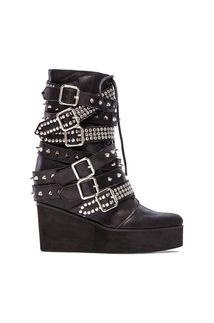 Jeffrey Campbell Lucius Embellished Boot in Black  Silver