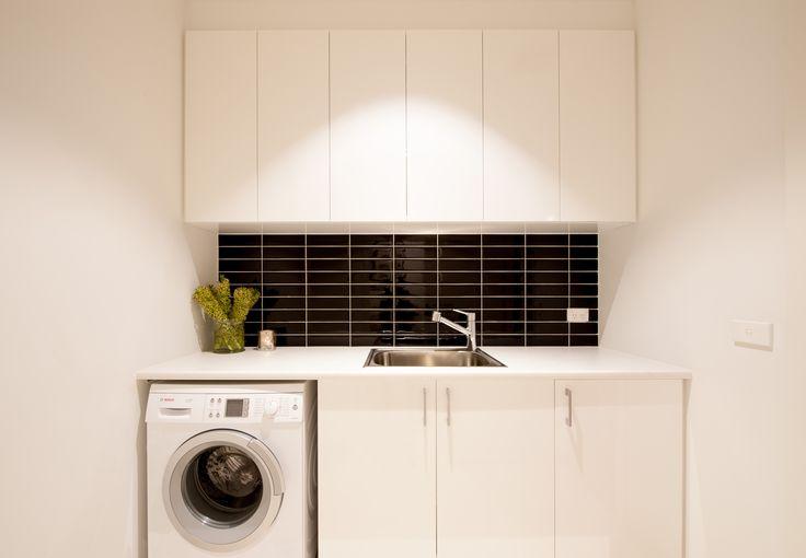 Logie Interiors Laundry Design Black Stacked Tiles Black and White