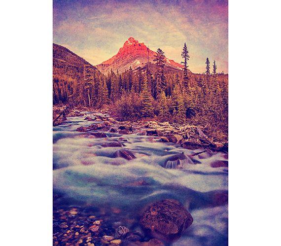 Mountain Photography - Vintage Decor, Banff, Landscape Image, Sunset, Rustic, Dreamy Texture, Warm Fall Colors, Glacier Water, Nature