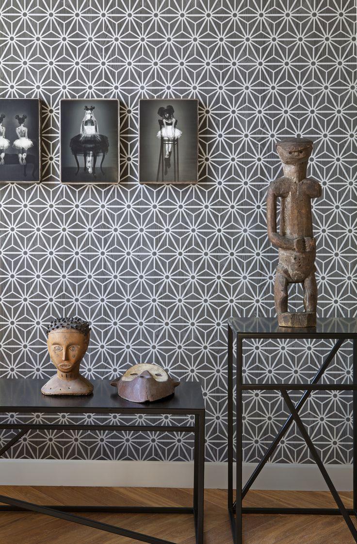 Graphic Shapes Wallpaper in Dark Neutrals and Grey design by BD Wall