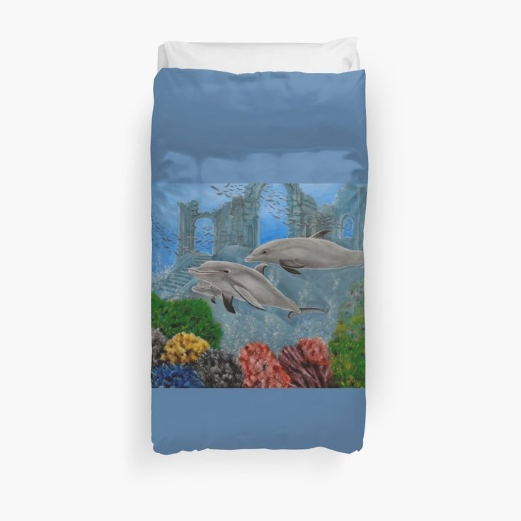 Duvet Cover, bed decor, for sale, home,accessories,bedroom,decor,cool,unique,fancy,artistic,trendy,unusual,awesome,beautiful,modern,fashionable,design,items,products,ideas,blue,turquoise,colorful,dolphins,wild,animals,ocean,scene,deep,sea,wildlife, corals, bubbles, redbubble