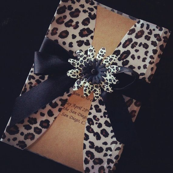 Leopard print invitation with black or by MemoryMakersDesigns, $6.00