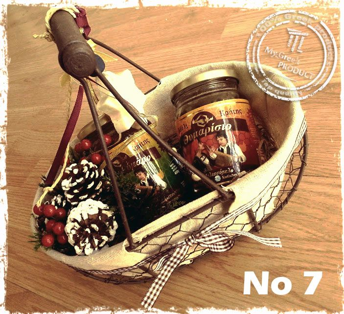 Christmas Gift in Basket with Greek traditional Honey and luck for 2015 http://mygreekproduct.com/en/christmas-gifts/270-gift-basket-no-7.html