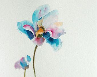 Blumen Aquarell, Original Aquarell, Rosa Blau Blume Wand Kunst