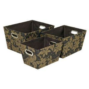 Floral Fabric Box 3Pack-  Black