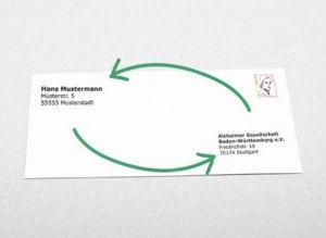"""Communication Société d'Alzheimer du Bade-Wurtemberg """"En 2013, une association a envoyé 9 000 lettres en inversant l'adresse du destinataire (vous) et celle de l'expéditeur (l'association) et ce sans affranchir les lettres. Ainsi, les lettres ont été renvoyées à l'expéditeur."""""""
