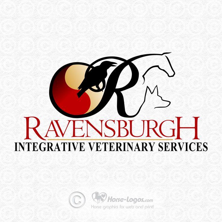 Custom horse logo design created for Ravensburgh Integrative Veterinary Services. You can purchase your own custom logo at Horse-Logos.com #horse #art #logo #equine #graphic #equestrian #design #brand #branding #identity #veterinary