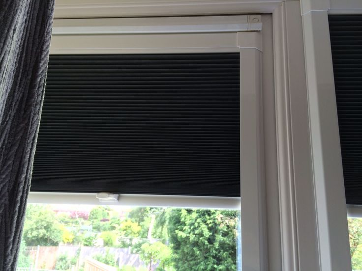 Perfect fit Duette blinds in Anthracite, no drilling, no screws ideal solution Www.apollo-blinds.co.uk