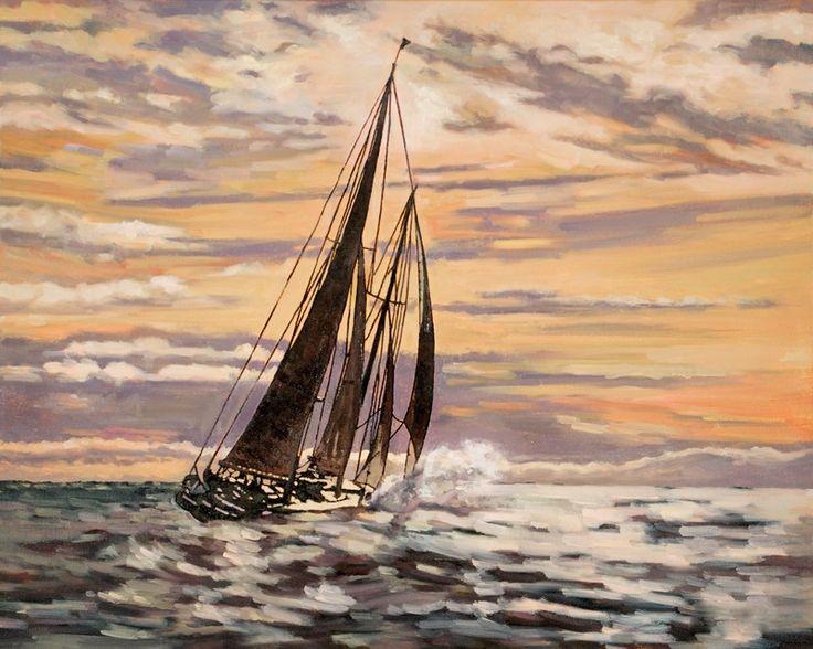 """Into the Sunset"" by Sheree Jones.  #art #painting #artwork #canvas #boats #sailboats #sailing #dock #marineart #marine #sunset"
