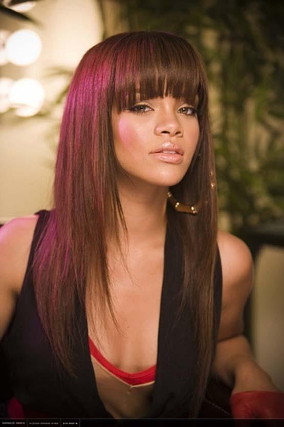 Love the bangs: African American, Blunt Bangs, Long Hairstyles, Hair Styles, Color, Hairstyles With Bangs, Haircut, Fringe, Rihanna Hairstyles